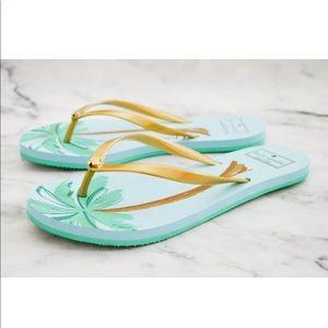 Kate Spade NY Nassau Flip Flops Sandals Palm Trees